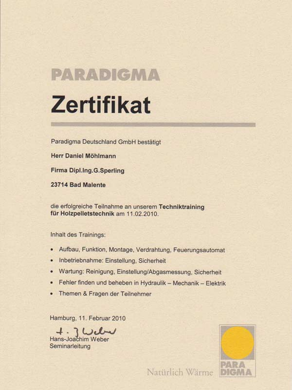 Zertifikate - Ihr Sanitärinstallateur aus Bad Malente - Sperling